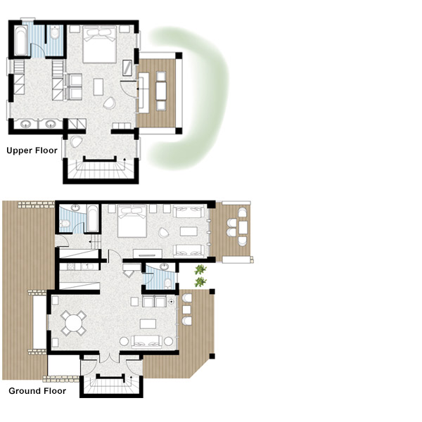 Deluxe 2-Bedroom Seafront Family Bungalow Suite Floorplan