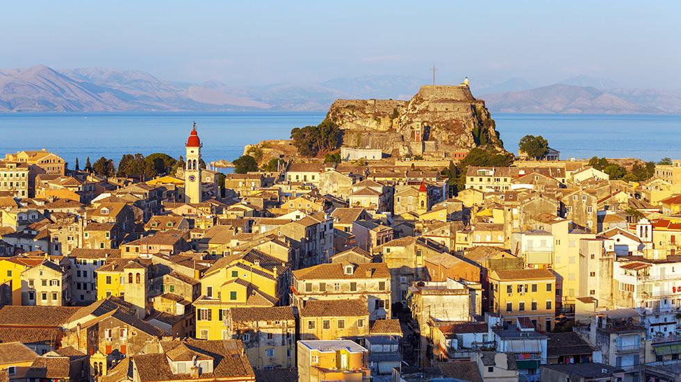Majestic Corfu Town Ionian Sea Aerial View