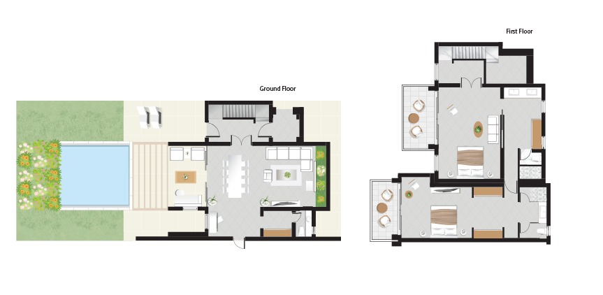 CI-NEW-2-Bedroom-Beachfront-Villa-Private-Pool-Floorplan